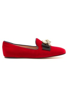 Gucci Etoile faux-pearl embellished velvet loafers