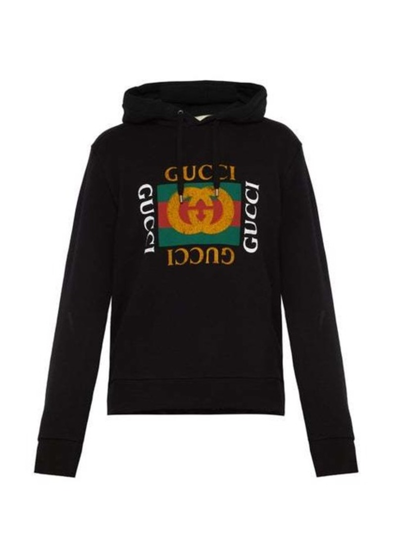 Gucci Fake logo-print cotton-jersey hooded sweatshirt