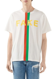 Gucci Fake/Not Oversize Organic Cotton Graphic Tee