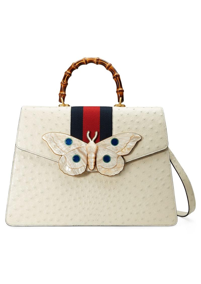 22230842f Gucci Gucci Falena Moth Ostrich Leather Satchel | Handbags