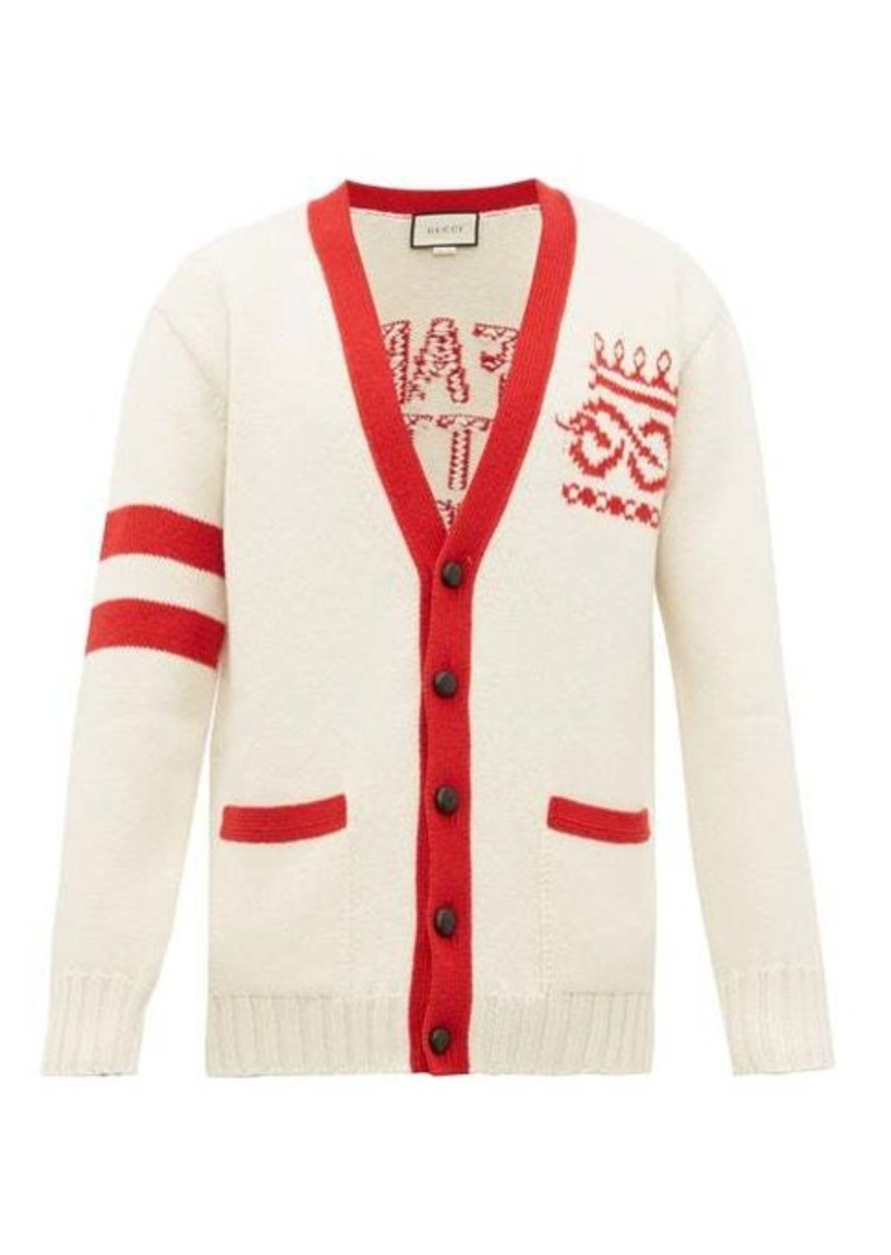 Gucci Far Better Not slogan-jacquard wool cardigan