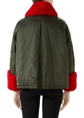fc5476efafcf Gucci Gucci Faux Fur Trim Nylon Flight Jacket