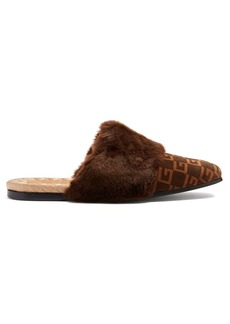 Gucci Faux-fur trimmed and logo-print suede slippers