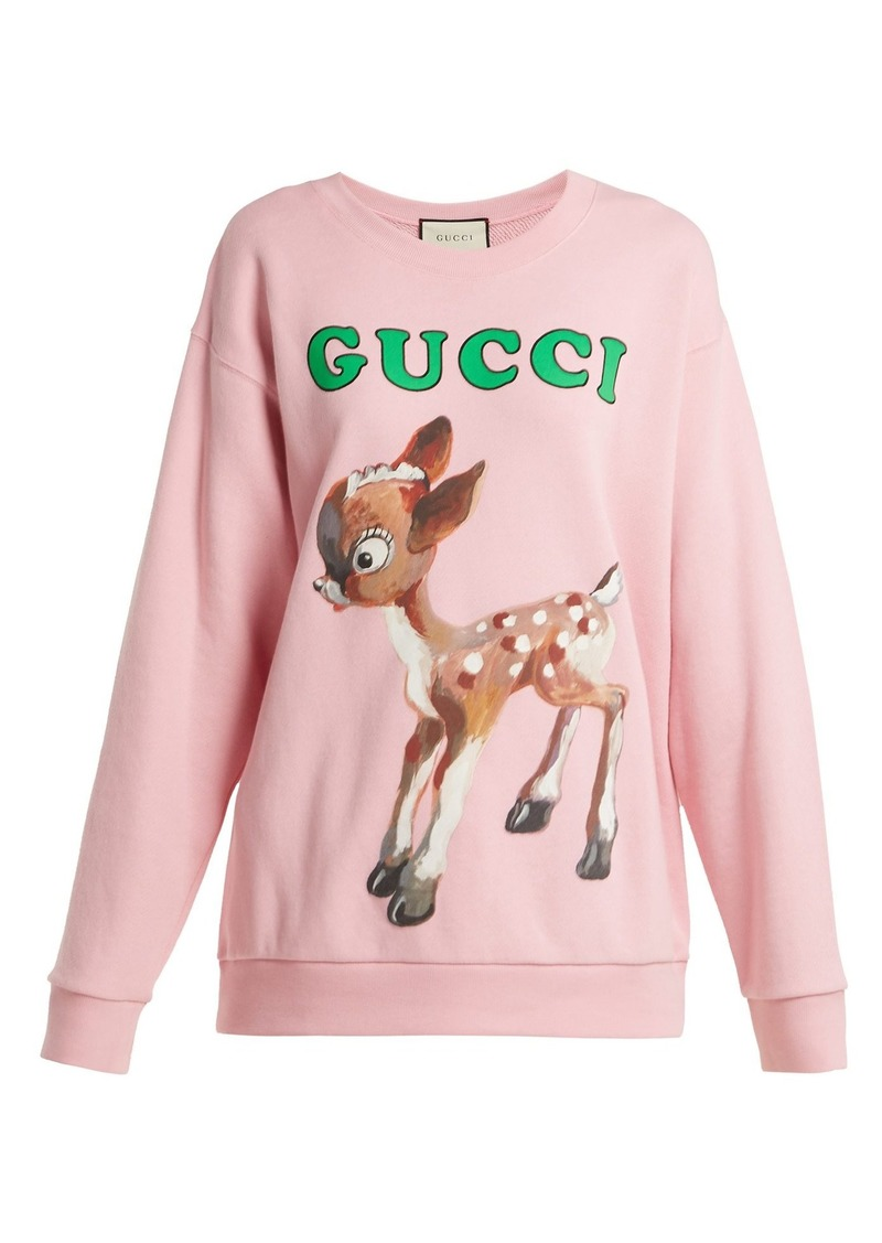 71840afd Gucci Gucci Fawn and floral-print cotton-jersey sweatshirt | Casual ...