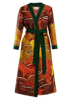 Gucci Fawn-print tie-waist wool-blend robe