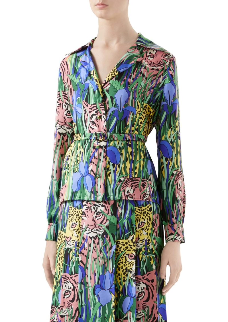 Gucci Feline Garden Print Silk Twill Blouse