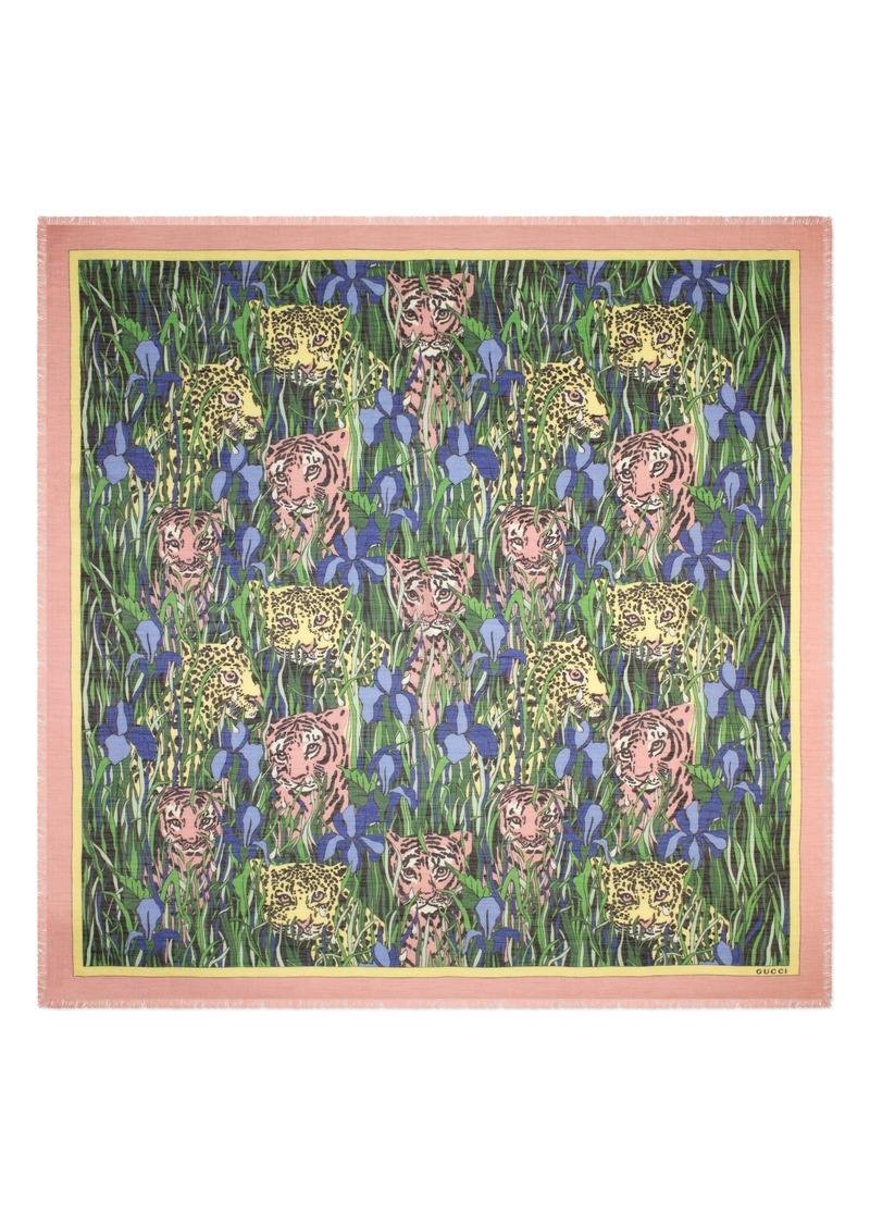 Gucci Feline Garden Print Square Scarf