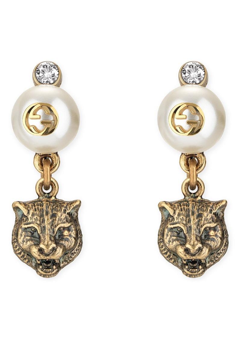 Gucci Feline Head Faux Pearl Earrings