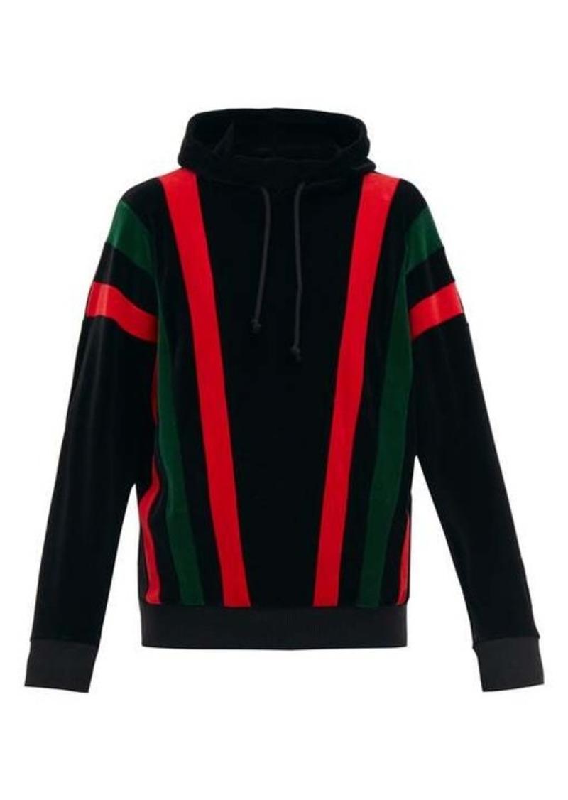 Gucci Felpa hooded striped-chenille sweatshirt
