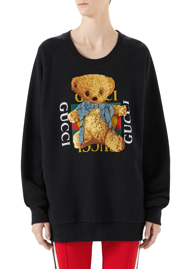 83d5bf1a2 Gucci Gucci Felted Jersey Sweatshirt with Teddy Bear | Sweaters
