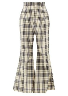 Gucci Flared checked-wool trousers