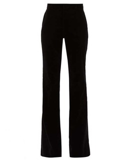 Gucci Flared velvet cotton-blend trousers