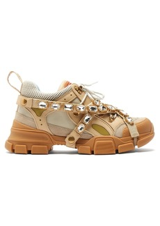 00ec1c00a1b Gucci Flashtrek crystal-embellished low-top trainers