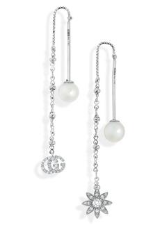 Gucci Flora Diamond & Cultured Pearl Threader Earrings