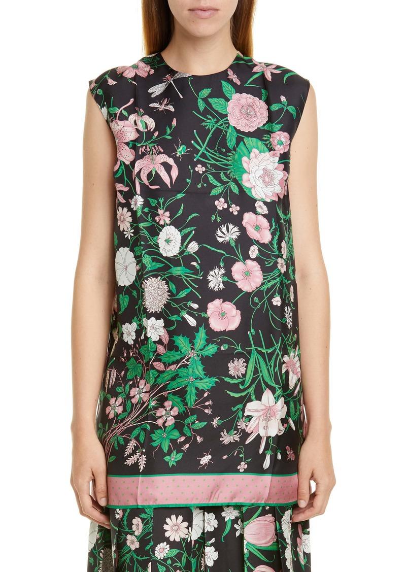 Gucci Flora Print Silk Twill Tunic