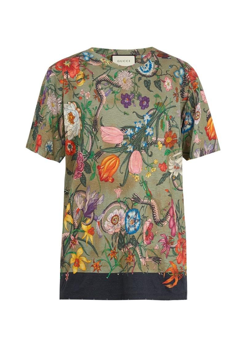 288551e1 Flora snake-print linen-jersey T-shirt