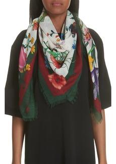 Gucci Flora Web Print Wool & Silk Scarf