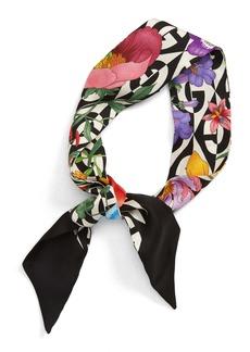 Gucci Floral & Rhombus Logo Silk Skinny Scarf