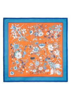Gucci Floral & Star Print Silk Scarf
