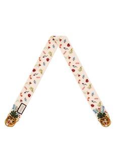 Gucci Floral & Tiger Print Silk Neck Scarf