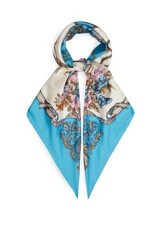 Gucci Floral and tassel-print silk-faille scarf