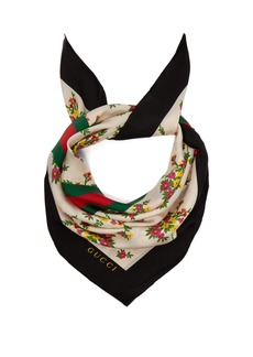 Gucci Floral and Web stripe-print silk-twill scarf