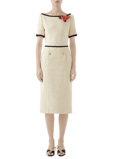 Gucci Floral Appliqué Bouclé Tweed Midi Sheath Dress