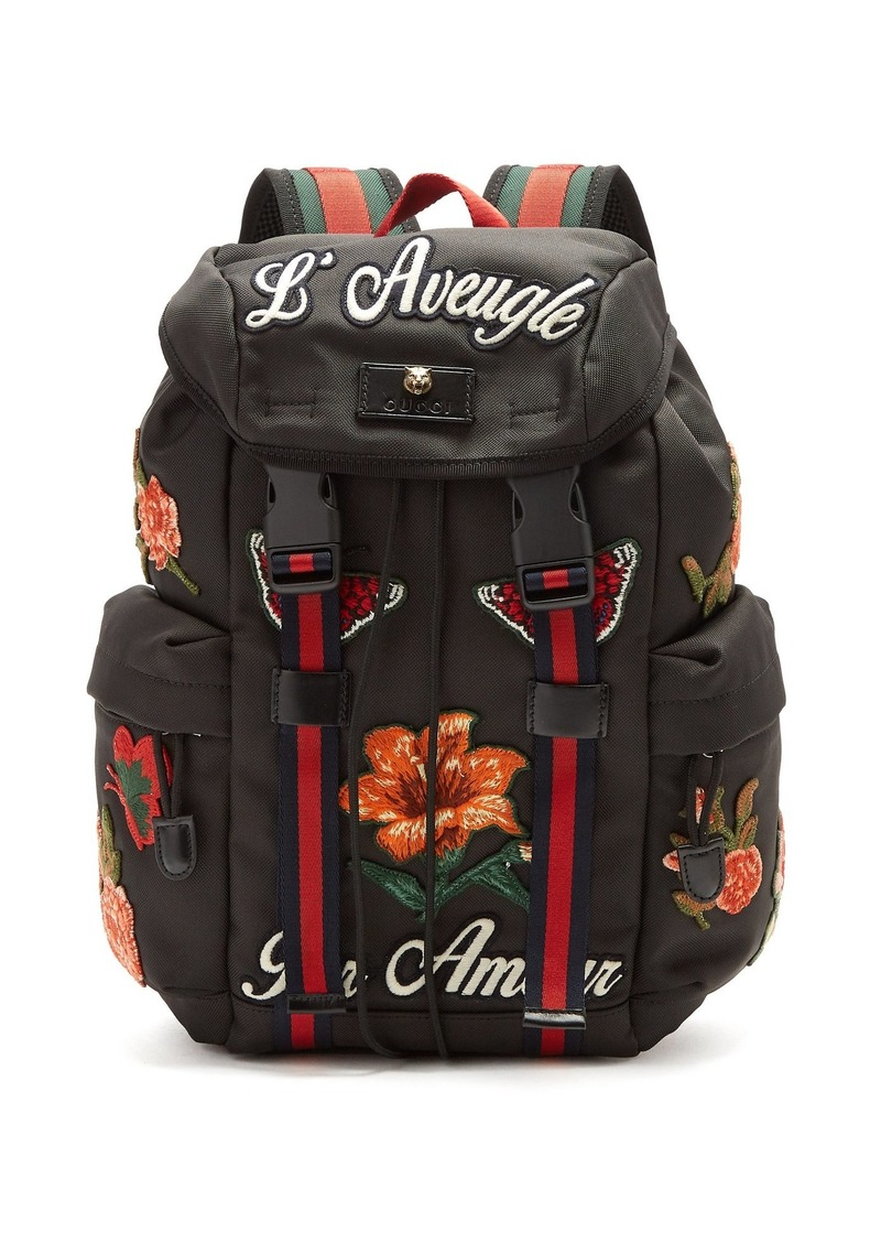 ed78be01c4f4 Gucci Gucci Floral-appliqué techno-canvas backpack | Bags