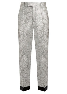 Gucci Floral-brocade straight-leg trousers