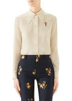 Gucci Floral Embroidered Silk Crêpe de Chine Blouse