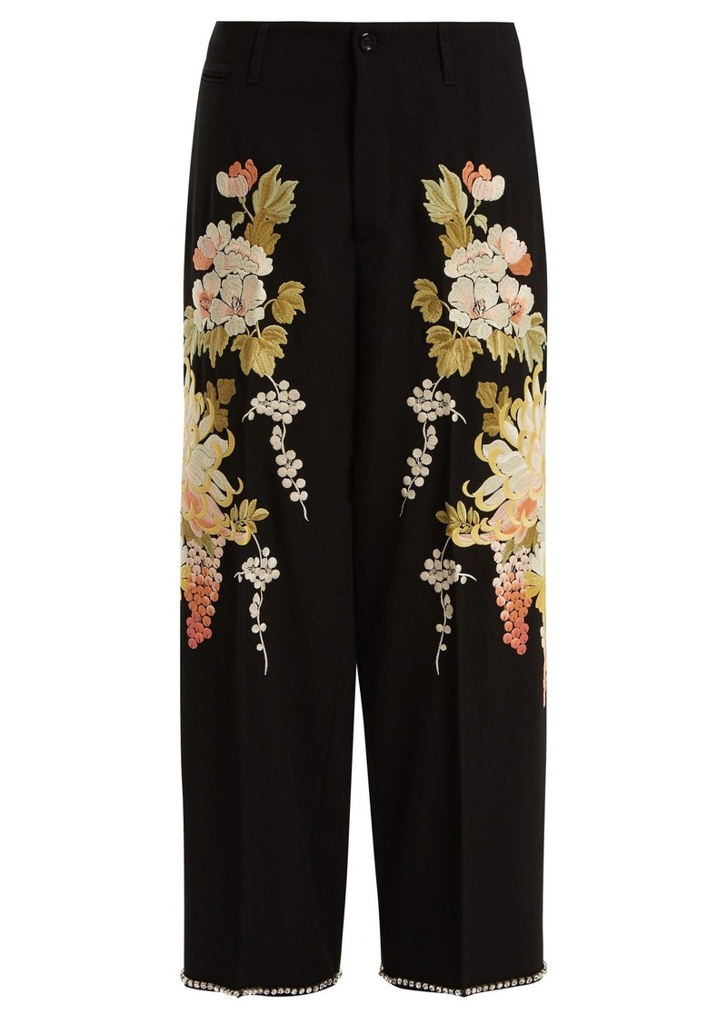 0a9d7e15ec4 Gucci Gucci Floral-embroidered wool-crepe trousers