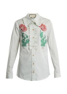 Gucci Floral fil coupé striped cotton shirt