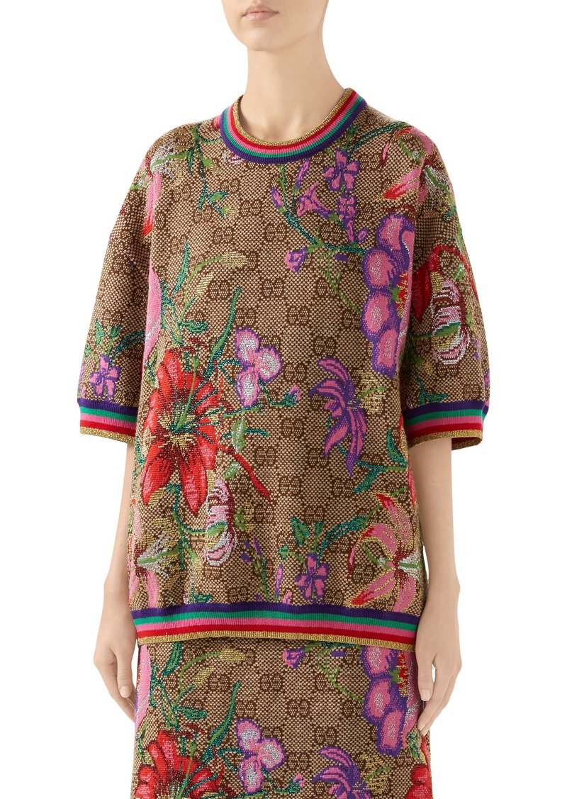 Gucci Floral GG Jacquard Wool Blend Sweater