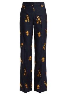 Gucci Floral-jacquard cotton-blend trousers
