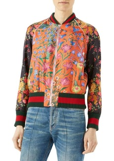 Gucci Floral-Print Bomber Silk Jacket