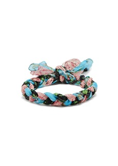 Gucci Floral-print braided-silk headband