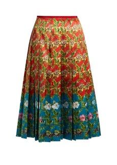 Gucci Floral-print pleated silk-satin skirt