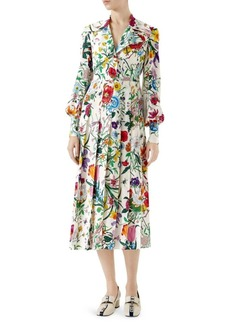 Gucci Floral Print Silk Shirt Dress