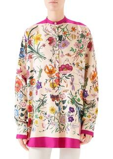 Gucci Floral Print Silk Twill Blouse