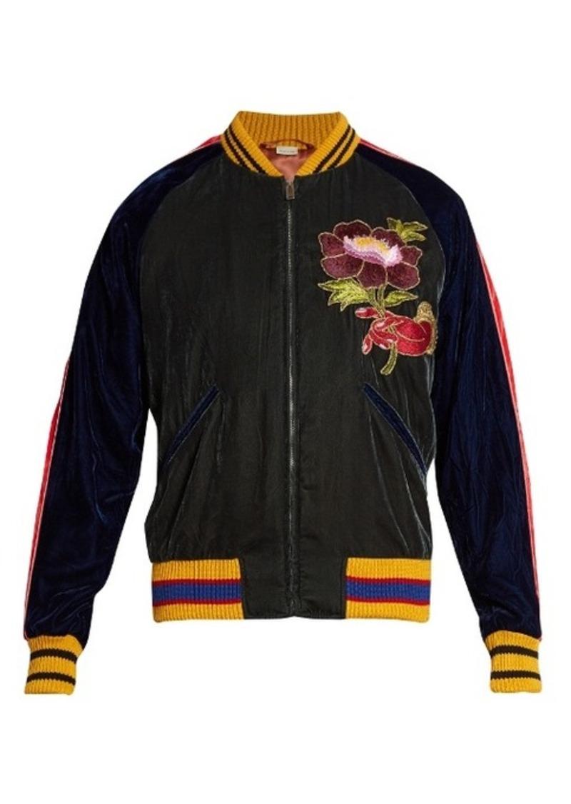 5ae80517 Flower-embroidered velvet bomber jacket