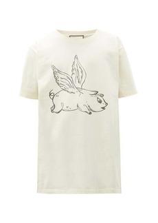 Gucci Flying pig-print cotton T-shirt