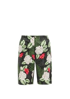 Gucci Foliage-print poplin shorts