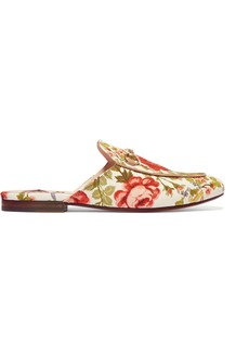 Gucci for NET-A-PORTER Horsebit-detailed floral-print canvas slippers