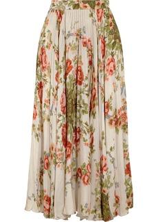 Gucci Pleated Floral-print Silk Midi Skirt