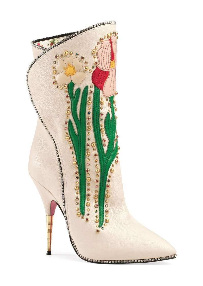 2a03e9384d2 Gucci Gucci Fosca Floral Embellished Pointy Toe Boot (Women)