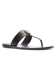 Gucci Marmont Double G Leather Thong Sandal (Men)