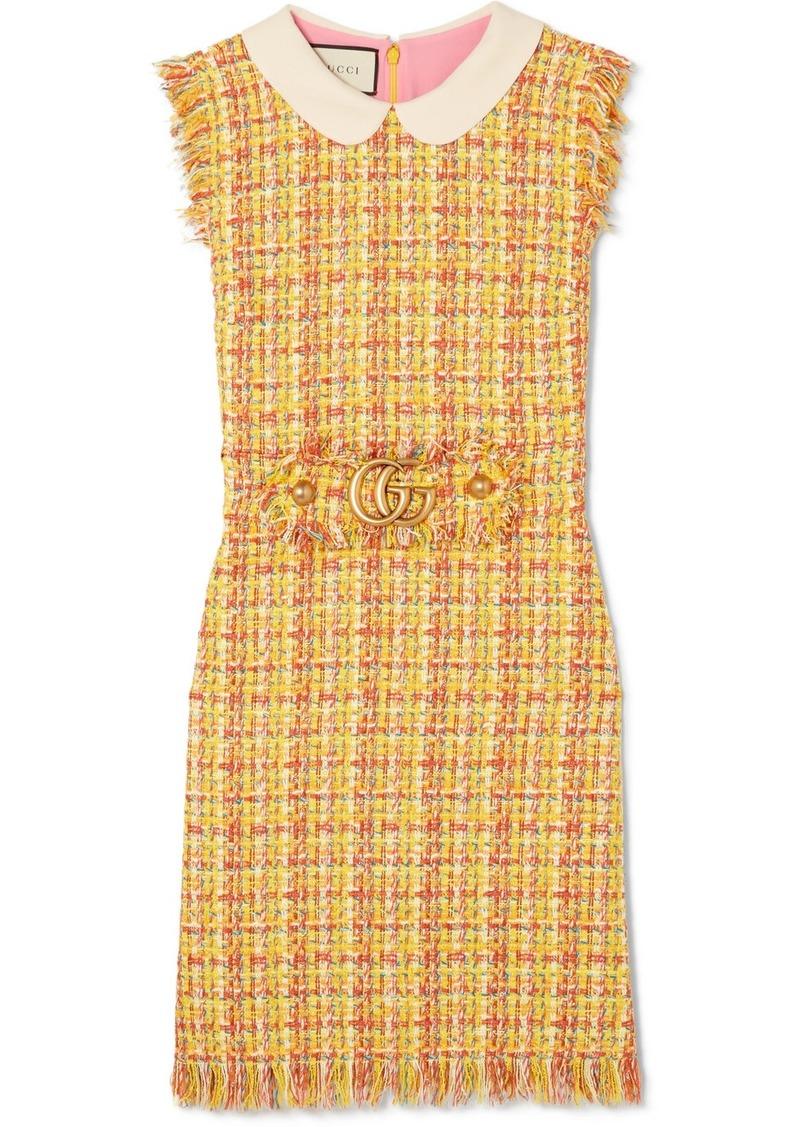 01773f86a2 Gucci Frayed Tweed Mini Dress   Dresses