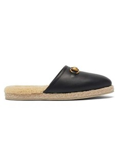 Gucci Fria horsebit leather and faux-shearling loafers