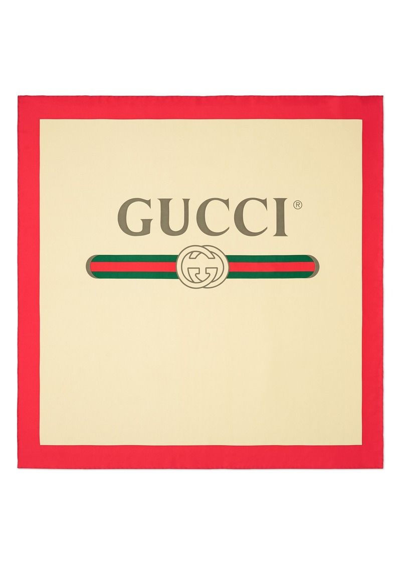 Gucci Future Logo Silk Twill Scarf