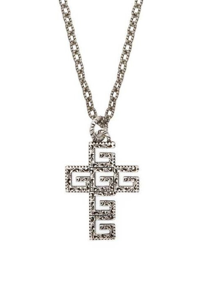 Gucci G-cross sterling silver necklace